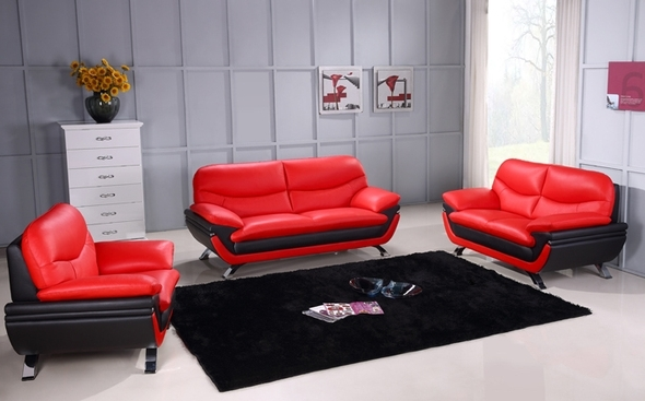 Newest Red And Black Sofas Pertaining To Jonus Red/black Sofa Jonus Beverly Hills Furniture Leather Sofas (View 7 of 10)
