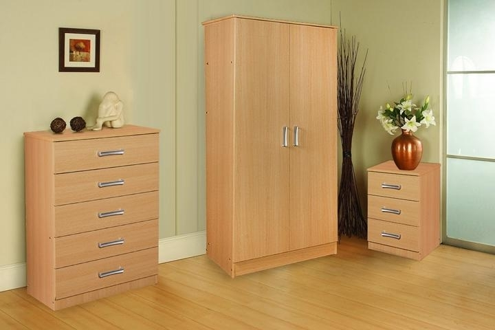 Newest Stylish Oak Trio Set Wardrobe Chest Of Drawers And Bedside Three With Regard To Wardrobes And Chest Of Drawers Combined (View 9 of 15)