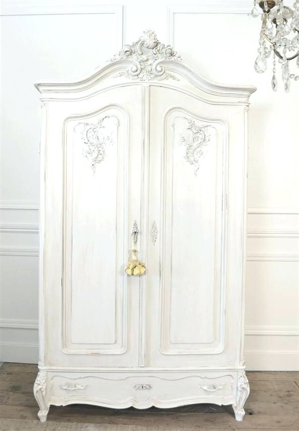 Newest Vintage French Wardrobes Within Wardrobes ~ White French Armoire Wardrobe White Wardrobe Armoire (View 6 of 15)