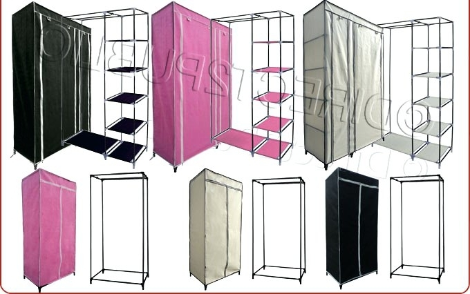 Newest Wardrobes ~ Fabric Wardrobe Storage Boxes Single Double Canvas Regarding Double Canvas Wardrobes Rail Clothes Storage (View 15 of 15)
