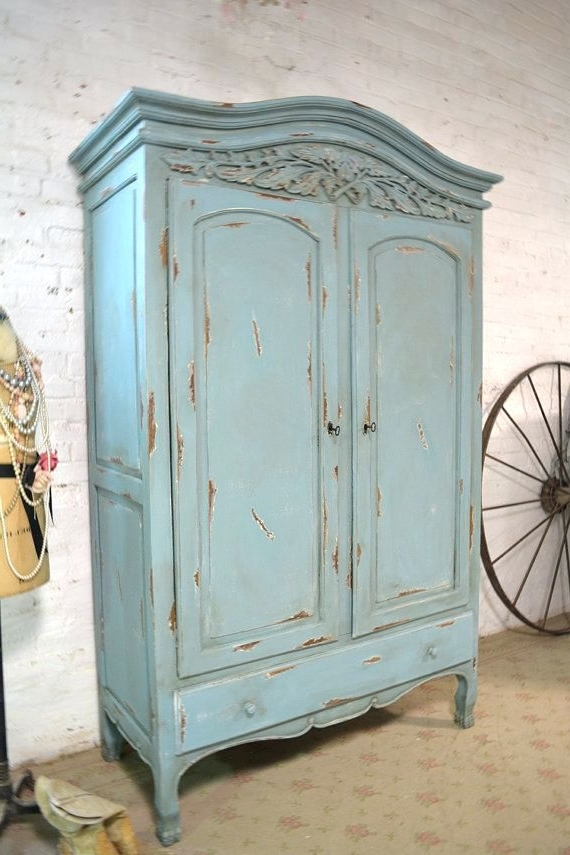 Newest Wardrobes ~ Painted Clothing Armoire Deposit For Janelle French Pertaining To French Armoires Wardrobes (View 10 of 15)