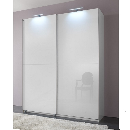 Newest Wardrobes White Gloss Intended For Add On D White Gloss Wardrobe With 2 Sliding Doors 1 Mirrors (View 5 of 15)