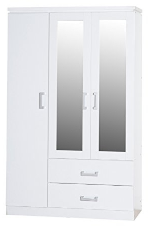 Newest White Wardrobes With Drawers And Mirror Pertaining To Seconique Charles 3 Door 2 Drawer Mirrored Wardrobe – White (View 7 of 15)