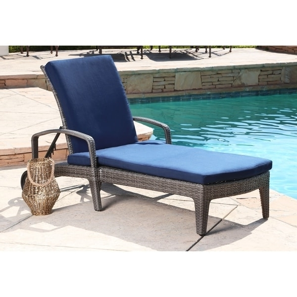 Newport Chaise Lounge Chairs In Most Up To Date Abbyson Newport Navy Outdoorgrey Wicker Adjustable Patio Chaise (View 6 of 15)
