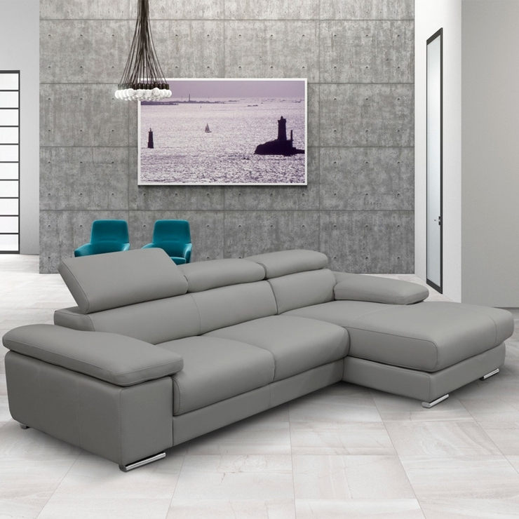 Nicoletti Lipari Grey Italian Leather Sofa Chaise, Left Facing With Regard To Famous Grey Sofa Chaises (View 13 of 15)