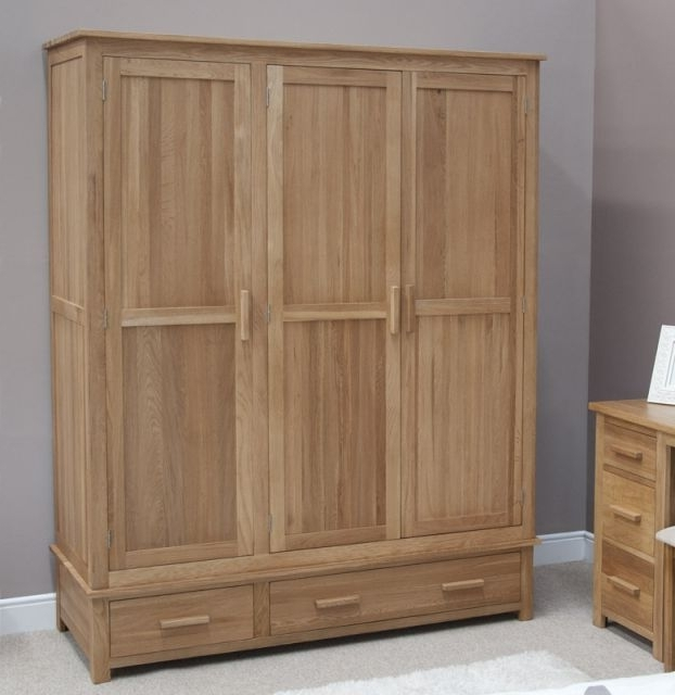 Oak 3 Door Wardrobes In Newest Homestyle Modern Solid Oak 3 Door, 3 Drawer Wardrobe – Wardrobes (View 10 of 15)