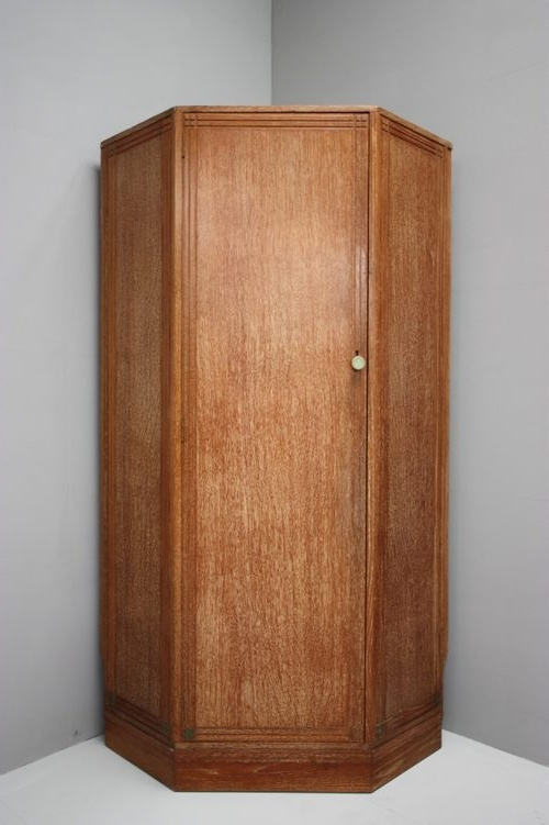 Oak Corner Wardrobes Pertaining To Most Recent Rare 1930's Limed Oak Heals Corner Wardrobe (View 9 of 15)