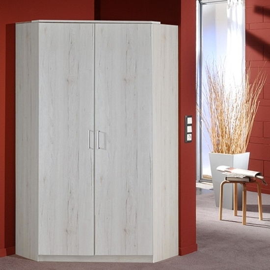Oak Corner Wardrobes Regarding Trendy Octavia Corner Wardrobe In White Oak With 2 Doors  (View 10 of 15)