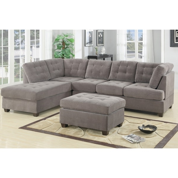 Odessa Waffle Suede Reversible Sectional Sofa With Ottoman – Free Throughout Well Liked Overstock Sectional Sofas (View 7 of 10)