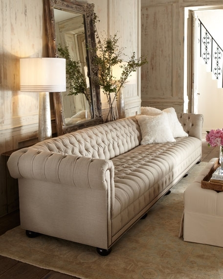 Old Hickory Tannery Hudson Tufted Linen Sofas And Loveseat In Well Known Tufted Linen Sofas (View 7 of 10)
