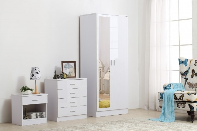Ossotto Mirrored High Gloss White On White Bedroom Furniture 3 In Best And Newest White Gloss Wardrobes Sets (View 9 of 15)