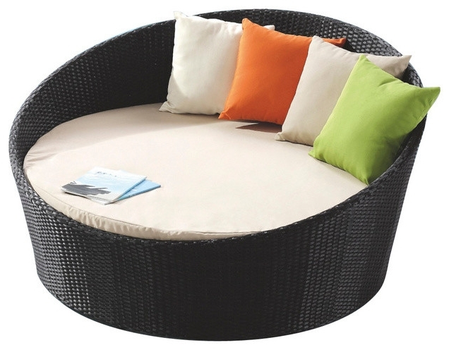 Outdoor Chaise Lounge Chairs With Canopy For Famous Attractive Round Chaise Lounge Shop Rb 016 Outdoor Round Day Bed (Gallery 14 of 15)