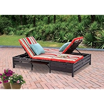Outdoor Double Chaise Lounges Regarding Recent Amazon : Double Chaise Lounger – This Red Stripe Outdoor (View 9 of 15)