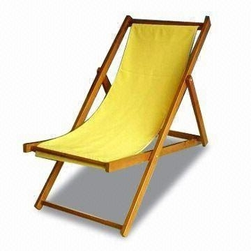 Outdoor Lounge Chair, Easy To Carry, Foldable, Made Of Wood And Throughout Widely Used Fabric Outdoor Chaise Lounge Chairs (View 12 of 15)