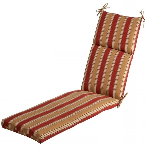 Outdoor Rattan Sun Lounger Cushion Lounge Cushion Red Khaki Stripe With 2017 Cushion Pads For Outdoor Chaise Lounge Chairs (View 13 of 15)