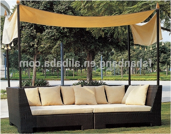 Outdoor Sofas With Canopy For Trendy All Weather Wicker Cabana Day Bed Outdoor Indoor Rattan Lounge (View 9 of 10)