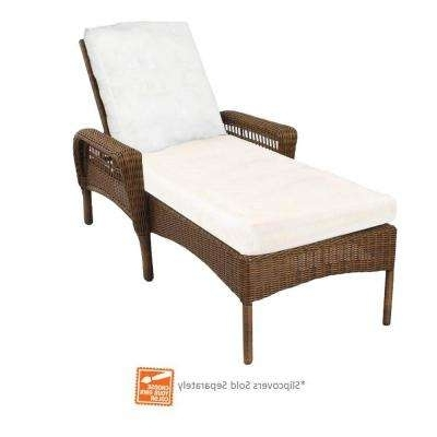 Outdoor Wicker Chaise Lounges Regarding Favorite Outdoor Chaise Lounges – Patio Chairs – The Home Depot (View 11 of 15)