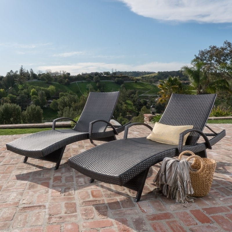 Outdoor Wicker Chaise Lounges With Best And Newest Darby Home Co Peyton Adjustable Wicker Chaise Lounge & Reviews (View 7 of 15)