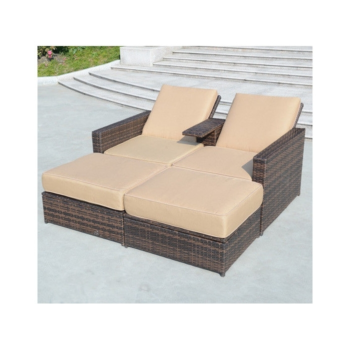 Outsunny 4 Piece Double Chaise Lounge With Cushion & Reviews (View 11 of 15)
