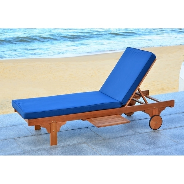 Overstock Outdoor Chaise Lounge Chairs Pertaining To Well Liked Safavieh Outdoor Living Newport Brown/ Navy Adjustable Chaise (View 10 of 15)