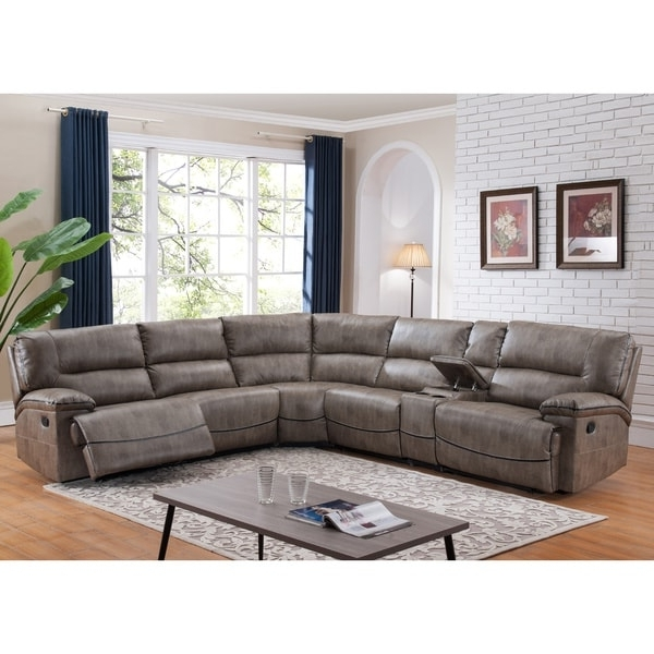 Overstock Sectional Sofas For Most Up To Date Donovan Sectional Sofa With 3 Reclining Seats – Free Shipping (View 8 of 10)