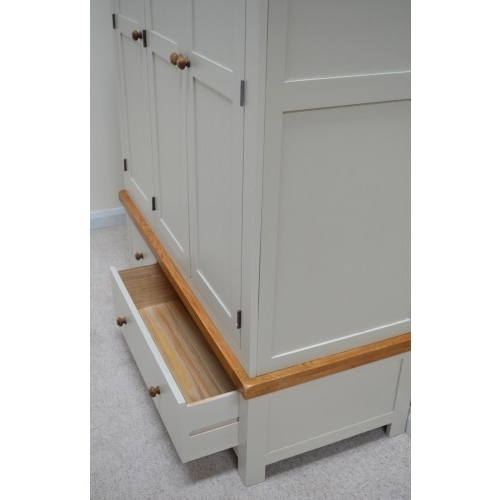 Painted Triple Wardrobes In Most Popular Painted Oak Triple Three Door Wardrobe With Storage Drawers (View 6 of 15)