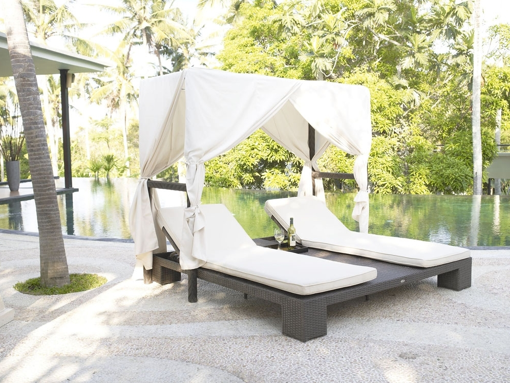 Patio Double Chaise Lounge Canopy House Decorations And Furniture Pertaining To Most Recently Released Outdoor Chaise Lounge Chairs With Canopy (View 14 of 15)