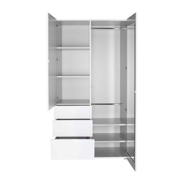 Perouse – High Gloss Wardrobe With 3 Doors – Habitat Inside Widely Used Tall White Gloss Wardrobes (View 9 of 15)