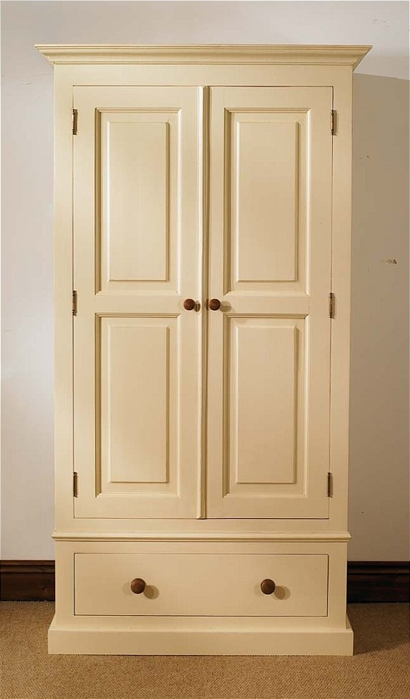 Pine Single Wardrobes Pertaining To Trendy Mottisfont Painted Single Wardrobe 1 Drawer Painted Pine Single (View 9 of 15)