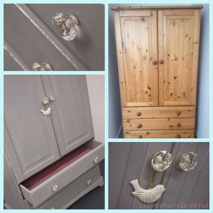 Pine Wardrobe And Drawers Upcycled Using 2 Coats Of Wood Primer, 2 Within 2017 White Pine Wardrobes (View 9 of 15)