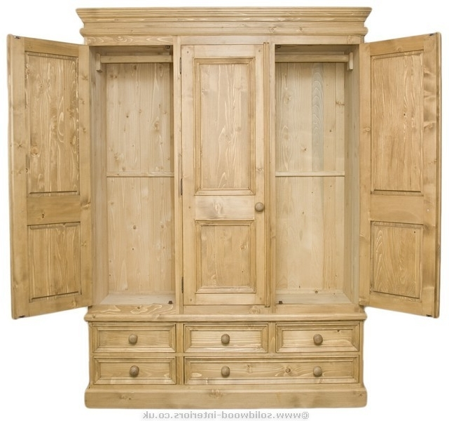 Pine Wardrobes Intended For Fashionable Solid Wood Interiors > Waxed Solid Pine Triple Wardrobe (View 8 of 15)