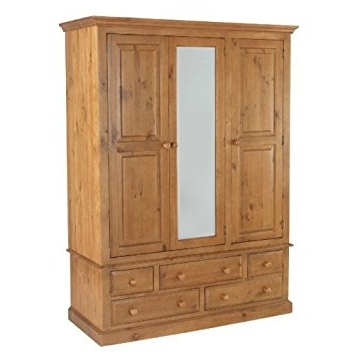 Pine Wardrobes With Drawers And Shelves Pertaining To Best And Newest Country Solid Pine Triple Wardrobe With Drawers – Furniture (View 11 of 15)