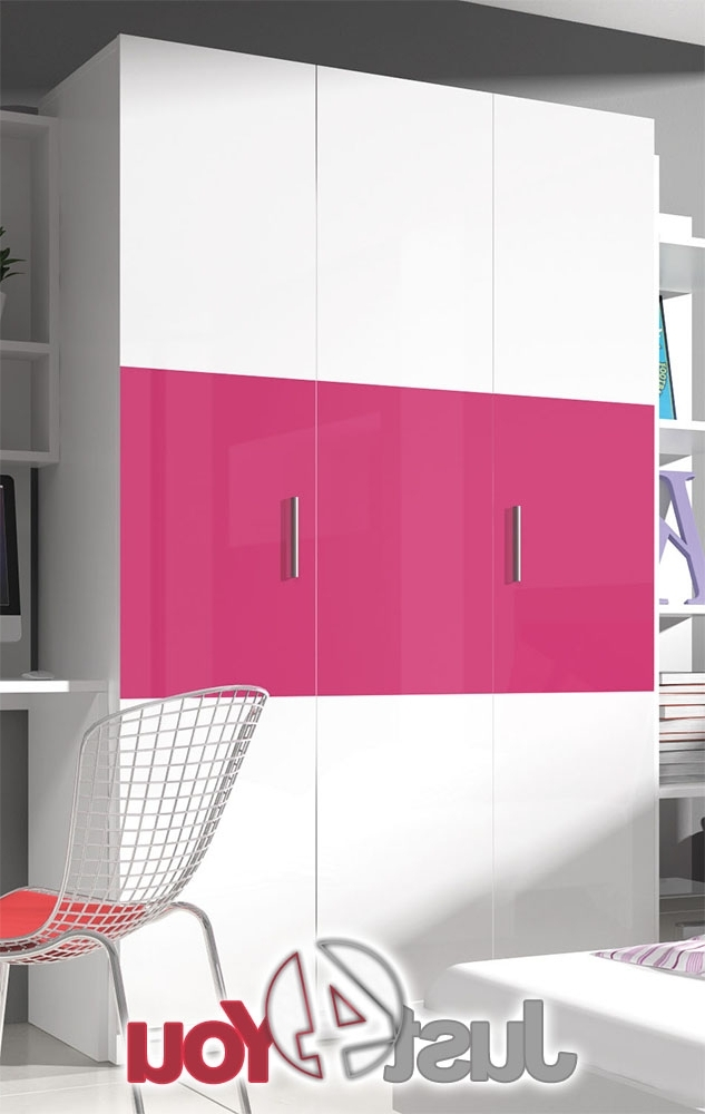 Pink High Gloss Wardrobes Intended For Widely Used Wardrobe Eden 120 Cm With High Gloss Front Furniture Just4You (View 10 of 15)