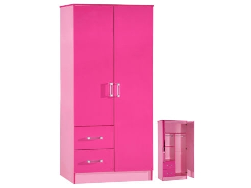 Pink High Gloss Wardrobes Regarding Trendy High Gloss Pink 2 Door 2 Drawer #wardrobe – #marina Kids Bedroom (View 11 of 15)