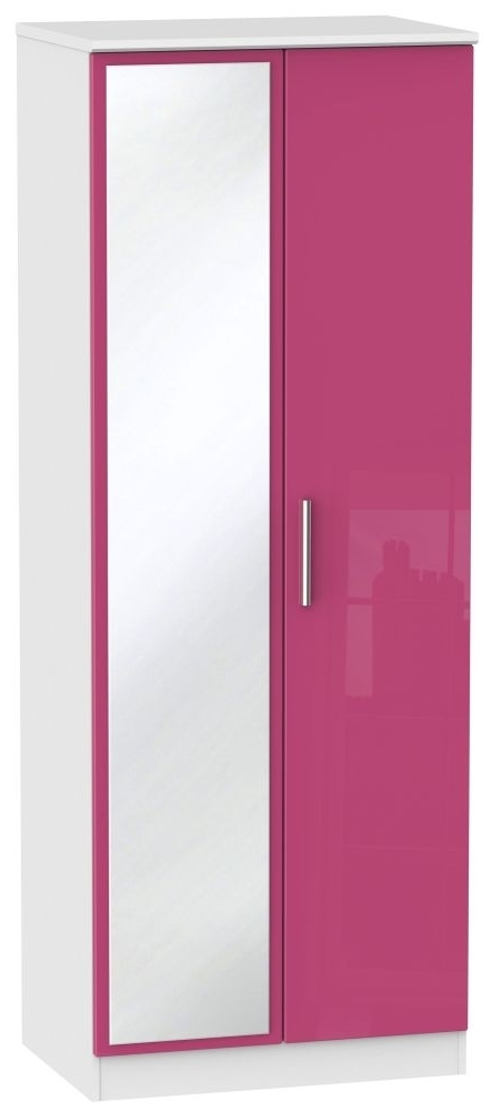 Pink High Gloss Wardrobes With Regard To Fashionable Buy Knightsbridge High Gloss Pink And White Wardrobe – Tall 2Ft (View 12 of 15)