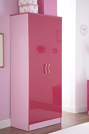 Pink High Gloss Wardrobes Within Fashionable 2 Door Double Wardrobe In Two Tone Pink High Gloss: Amazon.co (View 13 of 15)
