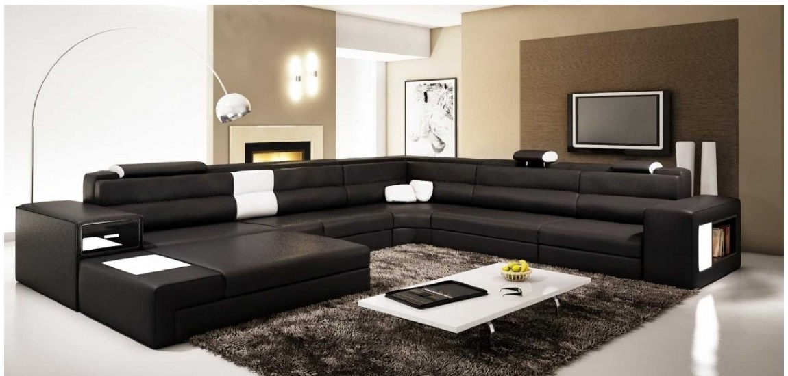 Polaris Large Sectional Sofa In Black Leather Within Preferred Black Sectional Sofas (View 5 of 10)
