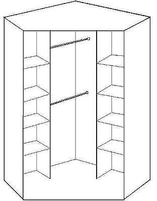 Popular 2 Door Corner Wardrobes Regarding 2 Door Corner Wardrobe With Hanging Rails And Shelves – Oak Mirror (View 13 of 15)