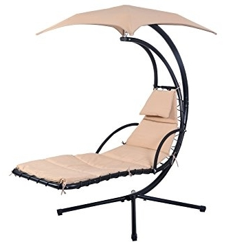 Popular Amazon : Giantex Hanging Chaise Lounger Chair Arc Stand Air Within Chaise Lounge Swing Chairs (View 13 of 15)