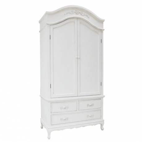 Popular Black French Style Wardrobes Throughout Ivory Wooden French Antique 2 Door Wardrobe (View 11 of 15)