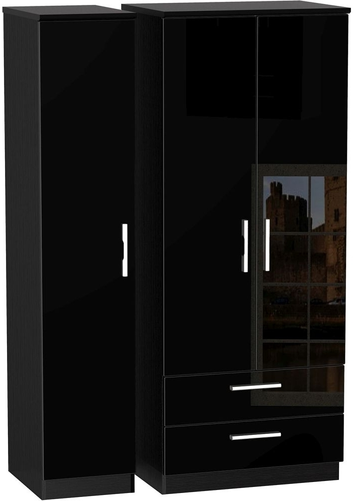 Popular Black Wardrobes Pertaining To Buy Knightsbridge High Gloss Black Triple Wardrobe With 2 Drawer (View 11 of 15)