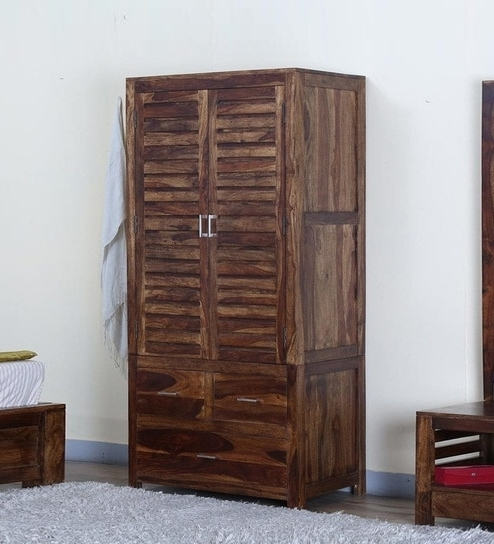 Popular Buy Stigen Solid Wood Wardrobe In Provincial Teak Finish Intended For Wood Wardrobes (View 9 of 15)