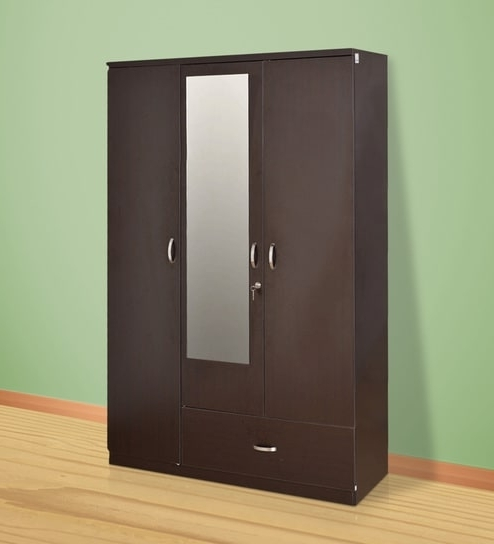 Popular Buy Utsav Three Door Wardrobe With Mirror In Wenge Finish With 3 Doors Wardrobes With Mirror (View 10 of 15)