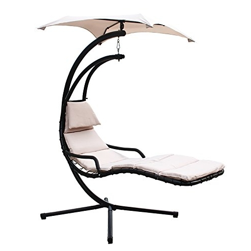 Popular Chaise Lounge Swing Chairs With Xtremepowerus Floating Swing Hammock Lounger – Beige – My Hammock (View 14 of 15)