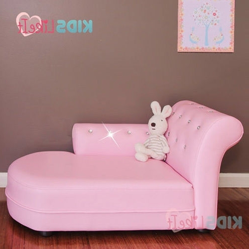 Popular Children's Chaise Lounges Throughout Deluxe Girls Pvc Leather / Crystal Princess Sofa / Day Couch (View 13 of 15)