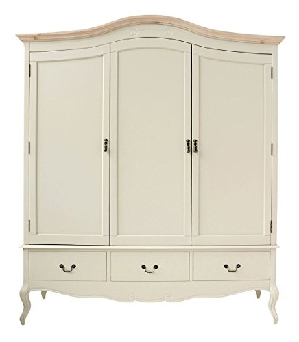 Popular Cream Triple Wardrobes Intended For Juliette Shabby Chic Champagne Triple Wardrobe (View 8 of 15)