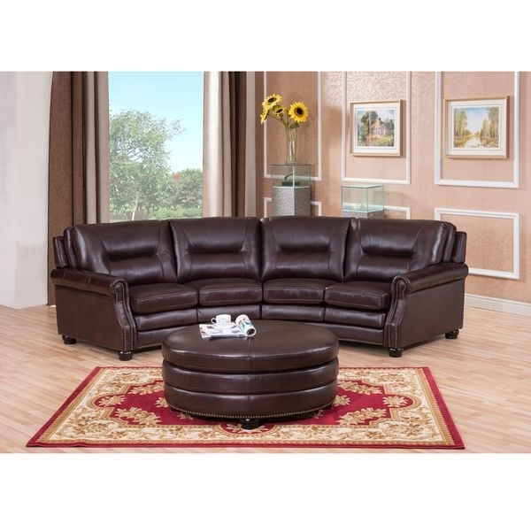Popular Delta Chocolate Brown Curved Top Grain Leather Sectional Sofa And With Regard To Curved Sectional Sofas With Recliner (View 7 of 10)