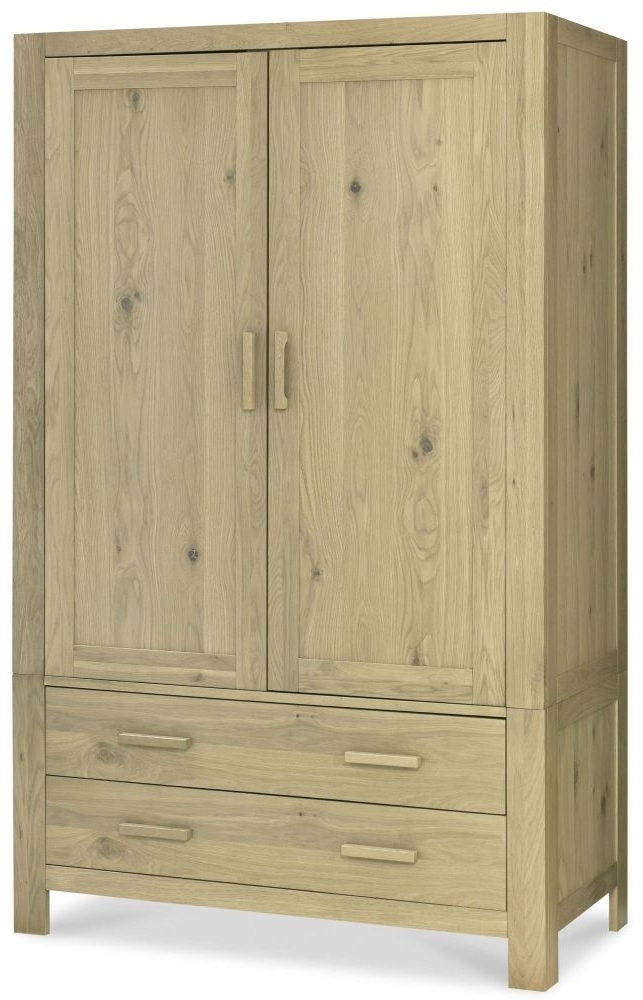 Popular Designs Turin Aged Oak Wardrobe – Double Large Pertaining To Large Oak Wardrobes (View 13 of 15)