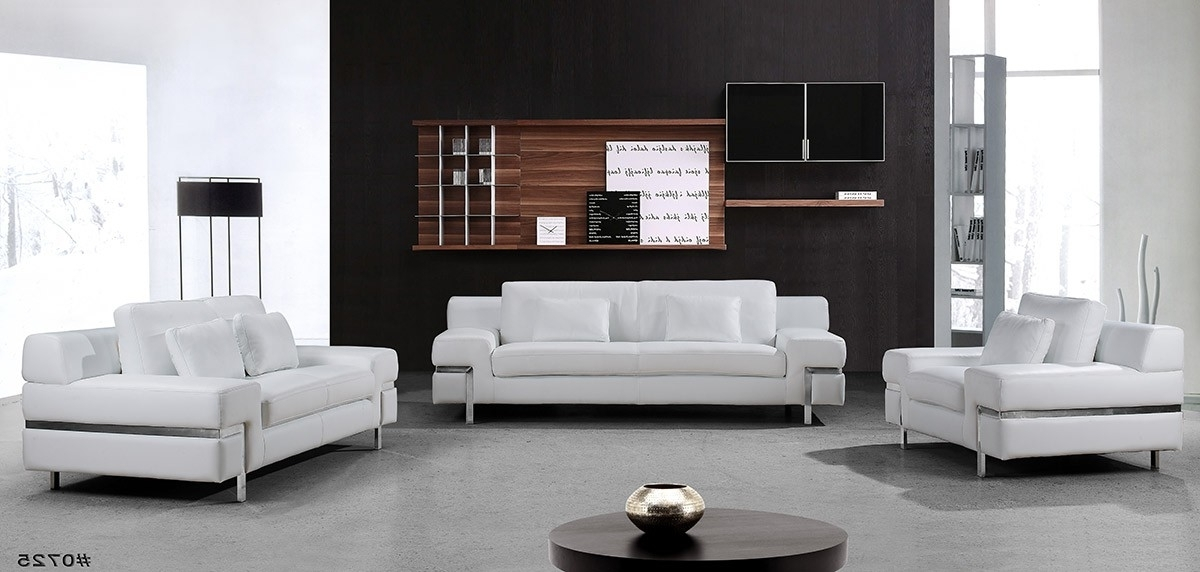 Popular Divani Casa Clef – Modern White Leather Sofa Set Regarding White Leather Sofas (View 7 of 10)