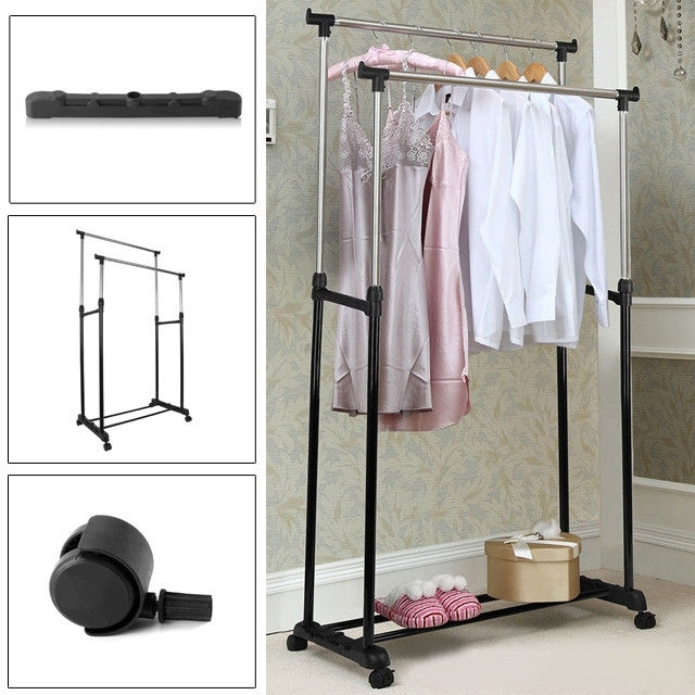 Popular Double Up Wardrobes Rails Throughout Double Clothes Rail Garment Coat Shirt Hanging Display Stand Rack (View 2 of 15)
